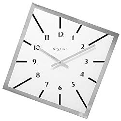 Unek Goods NeXtime Off Balance Wall Clock, Battery Operated, Square, Glass, White