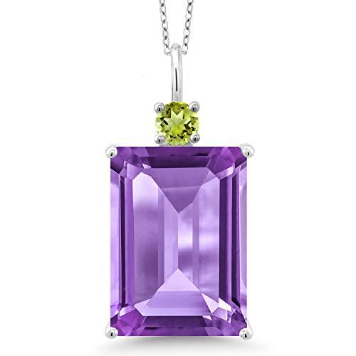 - Gem Stone King 15.30 Ct Emerald Cut Purple Amethyst Green Peridot 925 Sterling Silver Pendant