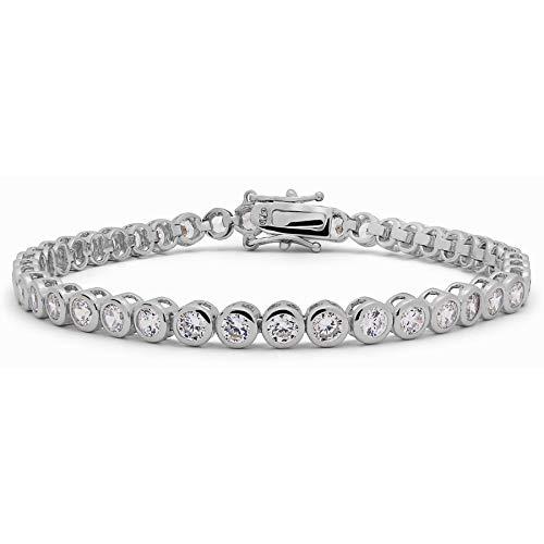 KEZEF Rhodium Plated Sterling Silver 3mm Fancy Cut Round Cubic Zirconia Bezel Set Tennis Bracelet Bridal Wedding Jewelry - - 7 Bezel Round 3mm Inch