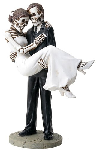 Groom Carrying Bride Skeleton Face Wedding Couple Statue (Bride And Groom Skeleton)