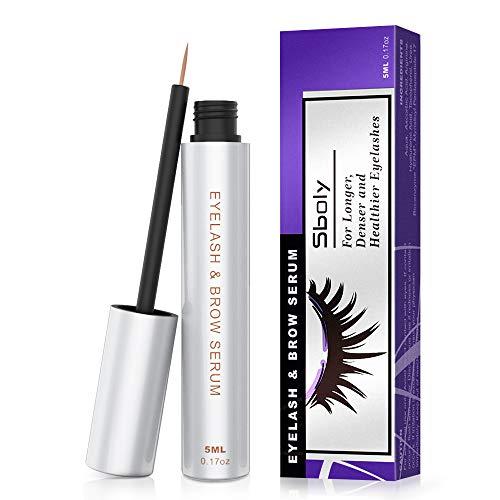 Eyelash Growth Serum, 100% Natural Lash Brow Enhancer, Lash Enhancing Serum for Boost Longer, Thicker Lashes and Eyebrows, Non-irritating by Sboly (5ml, 0.17oz) ()