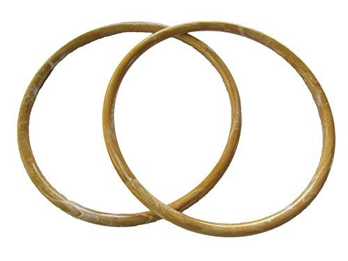 Pair of 9 inch Round Plastic Craft Handbag Purse Handles (Caramel Marble)