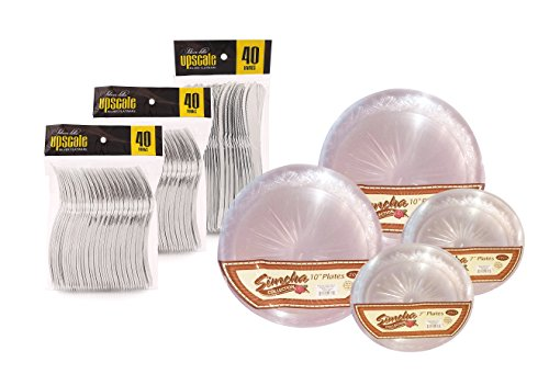 Party Bargains Heavyweight Clear Salad and Dinner Plates, Plastic Silverware Combo Pack, 200 Piece Party Set.