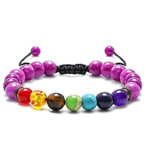 M MOOHAM Amethyst Chakras Beads Bracelet - 8mm Natural Stone Amethyst Stone Bead Chakra Bracelet, Men Women Stress Relief Yoga Beads Adjustable Semi-Precious Gemstone Anxiety Bracelet