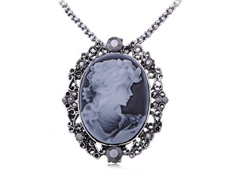 Alilang Gunmetal Tone Crystal Rhinestone Cameo Lady Victorian Pendant Necklace