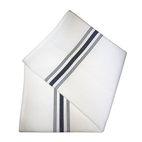 Ultimate Textile -1 Dozen- Stripe Bistro Napkins 18 x 22-Inch Navy by Ultimate Textile