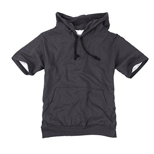 (myglory77mall Mens Short Sleeve Basic Light Cotton 100% Hooded tshirt Top Tee Hoody Hoodie US M(XL tag) D.Gray)