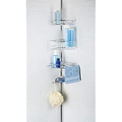 Richards Homewares 4 Tier Shower Bathtub Corner Tension Pole - Chrome Finish - Steel Baskets - Easy Assembly