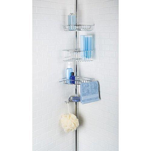 Richards Homewares 4 Tier Shower Bathtub Corner Tension Pole - Chrome Finish - Steel Baskets - Easy Assembly