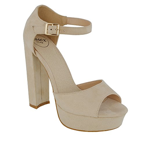 Essex Glam Womens Peep Toe Ankle Strap Block Heel Party Sandals Nude Faux Suede b3sh2enryY
