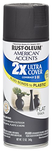 Rust Oleum 280711 American Accents Ultra Cover 2X Spray Paint, Flat Black, (Exterior Flat)