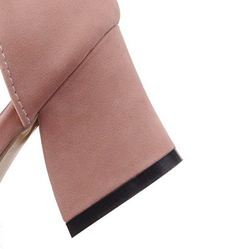 AllhqFashion Womens Buckle Open Toe Kitten-Heels Imitated Suede Solid Sandals Pink EBzo3O