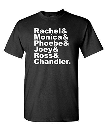 RACHEL & MONICA & PHOEBE & JOEY & ROSS & CHANDLER - Mens Cotton T-Shirt, XL, Black