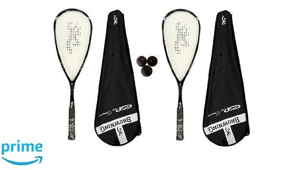 2 x Browning ESP 110 Nano Ti raqueta de Squash + unidades pelotas ...