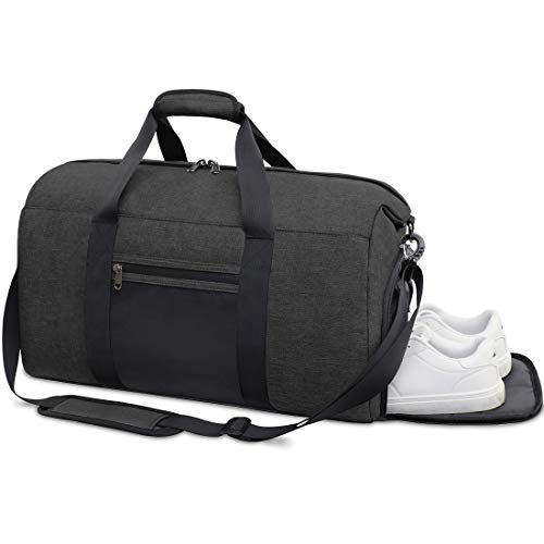 Sports Gym Bag Duffle Bag with Shoes Compartment Waterproof Travel Weekender Overnight Duffel Bag for Women Men 40L Black (Best Waterproof Shoes For Travel)