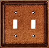Wall Plates, Ruston Series Double Switch, Sponged Copper Finish