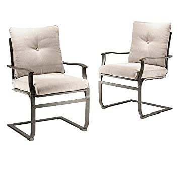 Nice Outdoor Patio Spring Motion 2 Piece Matching Tan Cushion Chair Set Sale  Covington Manor Affordable