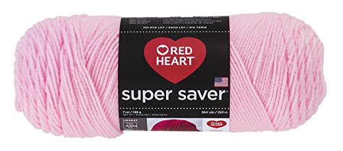 - Red Heart Acrylic 4-Ply Dryable Machine Washable Economy Super Saver Yarn, Petal Pink, 7 oz Skein