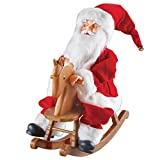 Collections Etc Animated Rocking Horse & Talking Santa Figurine - Features Jingle Bells Christmas Tune