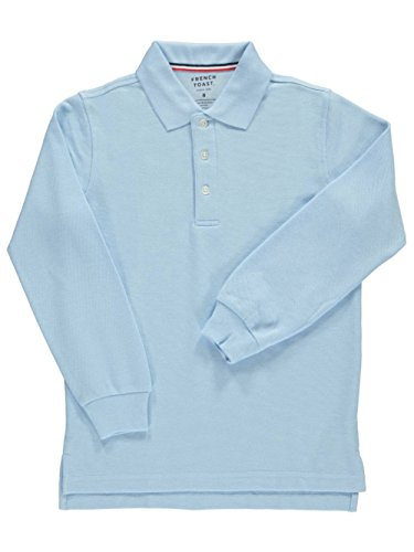 French Toast Big Boys' L/S Pique Polo - blue, 8