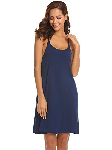 Ekouaer Women Nightgowns Spaghetti Strap Sexy Nighties Sleeveless Full Slip Dress,Navy - Tank Sleep