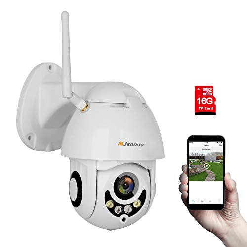 Wireless WiFi IP Security Camera, Jennov HD Wireless WiFi 1080P PTZ Security Camera Outdoor Waterproof Dome Camera Home Surveillance Audio Recording Pre-Installed 16G MicroSD Card with 4X Zoom Lens