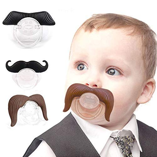 3 Pack Baby Funny Pacifier Cute Kissable Mustache Pacifier for Babies and Toddlers Unisex - BPA Free Latex Free Made with Silicone (Black3) ()