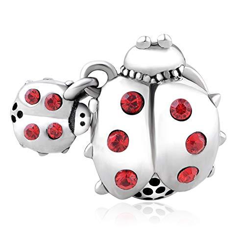 925 Sterling Silver Animal Ladybug Charm Fit Pandora Bracelets