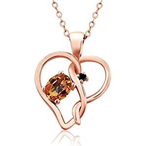 0.51 Ct Oval Ecstasy Mystic Topaz Black Diamond 14K Rose Gold Pendant