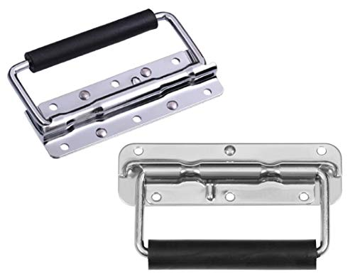Set of 2 Spring Loaded Surface Mount Speaker Cabinet Handles with Rubber Grip - Tool Box Handle Chrome Finish (1 Pair)
