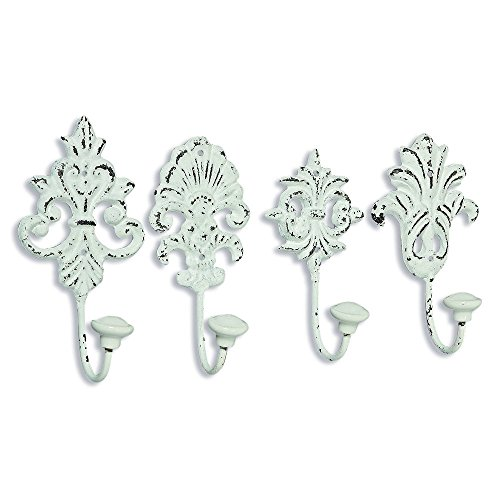- WHW Whole House Worlds Chateaux Fleur De Lis Wall Hooks, Set of 4, Shabby Distressed Finish, French Country Style,Rustic White, Cast Iron, Vintage Inspired, Porcelain Caps, Each 6 3/4 Inches Tall