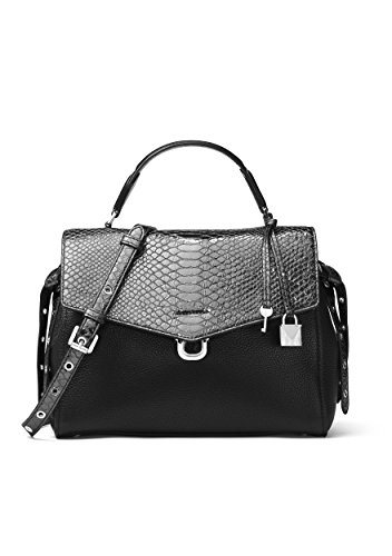 MICHAEL Michael Kors Bristol Metallic Embossed-Leather Satchel , Black Pewter