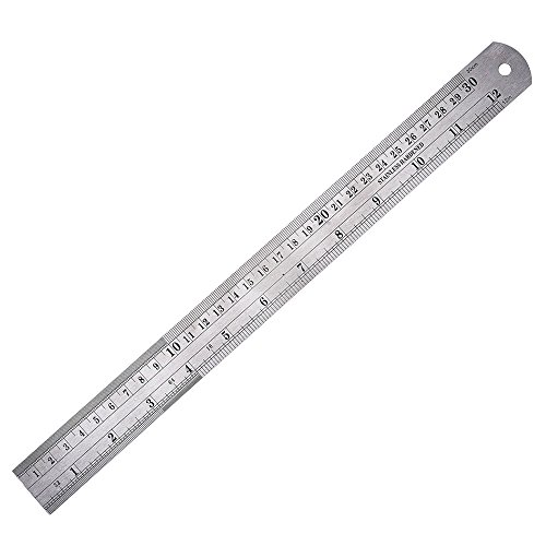 eBoot Stainless Steel Ruler 12 Inch with Conversion Table