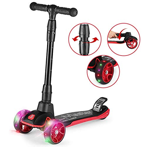 Z ZANMAX Three Wheel Kick Scooter for Kids, with Adjustable Handles and Light-up Wheels for Children from 2 to 14 Years Old