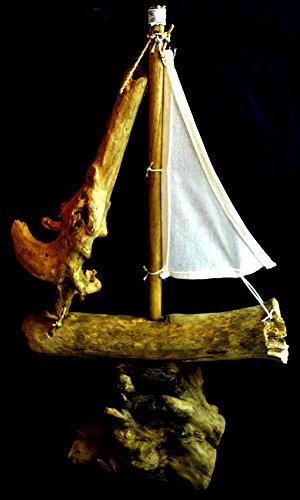 (Rustic Nautical Hand Carved Drift Wood Sail Boat Ship Ocean Fishing Wall Art Tiki Bar Sign )