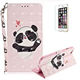 Funyye Folio Wallet Case for iPhone 6 Plus/6S Plus,Stylish 3D Cute Panda Fantasy Painted Design Strap Magnetic Flip Case with Stand Credit Card Holder Slots Soft Silicone PU Leather Case for iPhone 6 Plus/6S Plus 5.5 inch,Full Body Shockproof Non Slip Smart Durable Shell Protective Case with Screen Protector