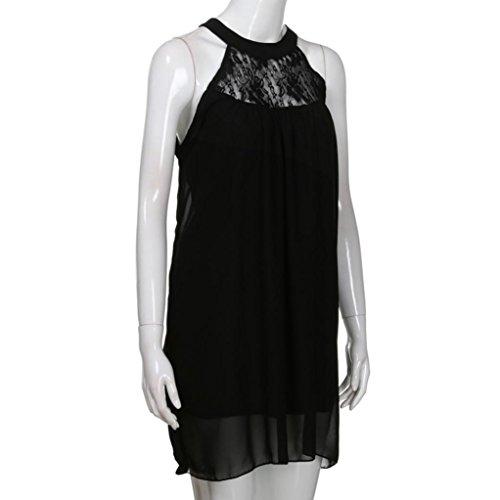 Donna a Nero maniche linea Vestito ad Bekleidung SANFASHION Senza U0xAw0Bq