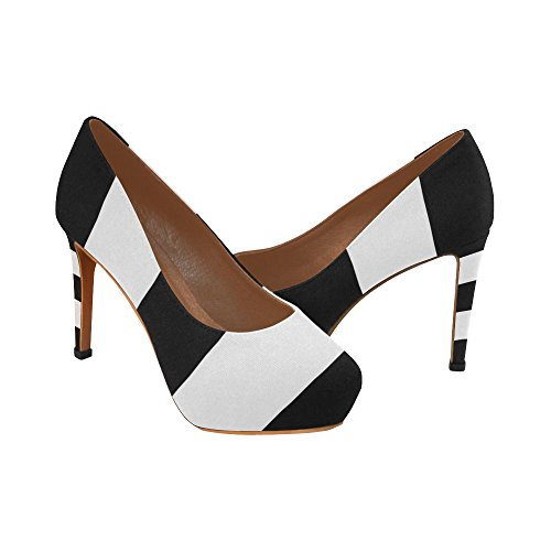 InterestPrint Vintage Stripes Womens Sexy High Heels Pump Shoes Black White Stripes 8uGtebx