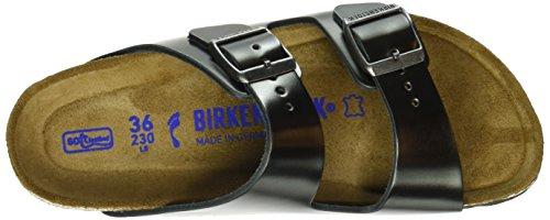 Birkenstock Arizona Morbido Plantare In Pelle Scamosciata Sandalo Metallizzato Antracite
