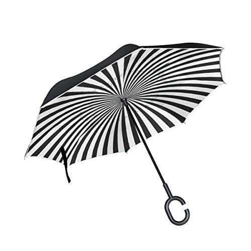 Reverse Umbrella Radiating Black And White Line Inverted Umbrella Windproof Anti-UV