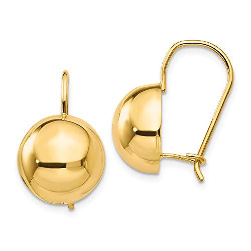 14k 12.00mm Hollow Half Ball Earrings In 14k Yellow Gold