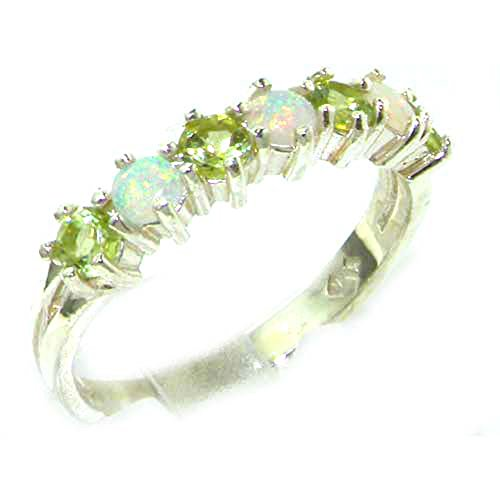 Genuine Ring Peridot Stone (925 Sterling Silver Real Genuine Opal & Peridot Womans Eternity Ring - Size 7)