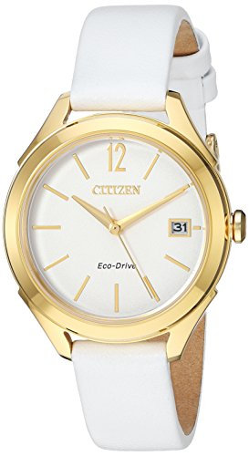 Citizen Women's Drive Stainless Steel Japanese-Quartz Watch with Leather Calfskin Strap, White, 14 (Model: FE6142-08A)