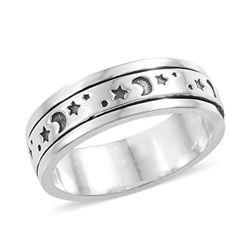 925 Sterling Silver Boho Handmade Spinner Statement Ring Vintage Tribal Jewelry for Women (Moon Star/Star/Turtle/Celtic)