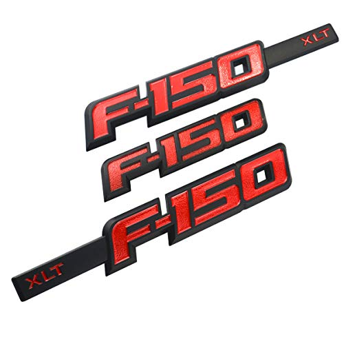 3pcs F-150 XLT Emblems, 3D Drivers Side Rear Tailgate 12.3 inch Emblem Sticker Decal Replacement for Ford F150 (Red/Black) ()