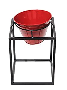 Square Iron Stand With Round Metal Planter, Red And Black - Gr9mt04