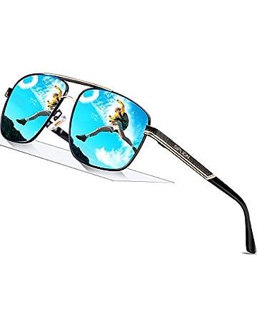 213e1ced608 SIPLION Men s Driving Polarized Rectangular Square Sunglasses Metal Frame