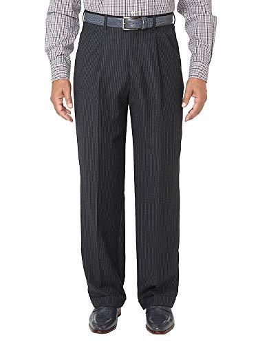 Paul Fredrick Men's Wool Stripe Pleated Suit Pants Charcoal 38 (Suit Wool Charcoal Stripe)