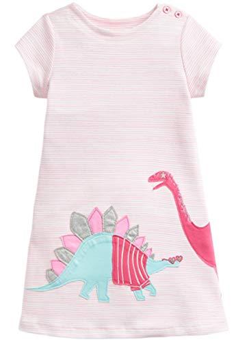 Girls Pink Jersey Dress - LNKXRTY Kids Cotton Dresses Baby Casual Dress Girls Cute Cartoon Dress Toddler Dinosaur Animal Dress 5T Pink Dinosaur