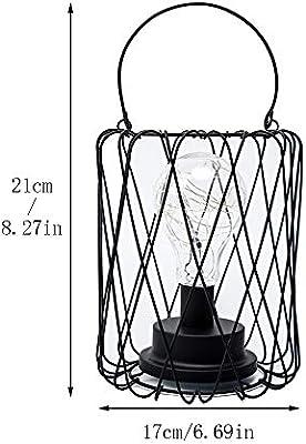 Lámpara de mesa de jaula negra vintage, con pilas, lámpara de ...